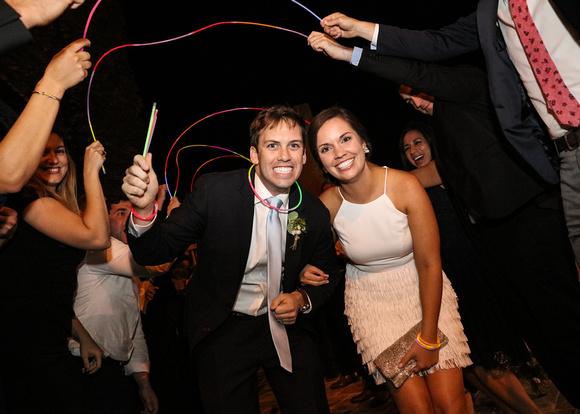 wedding send-off with glow sticks