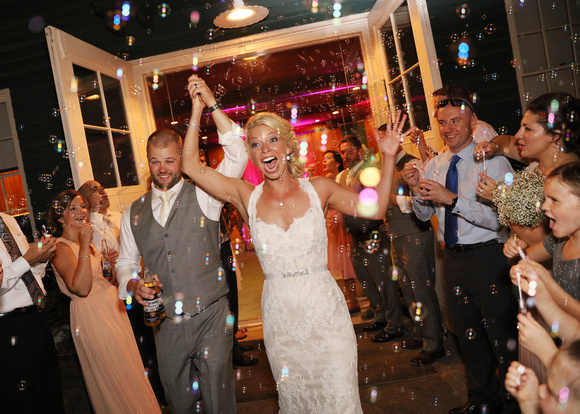 wedding send-off with bubbles