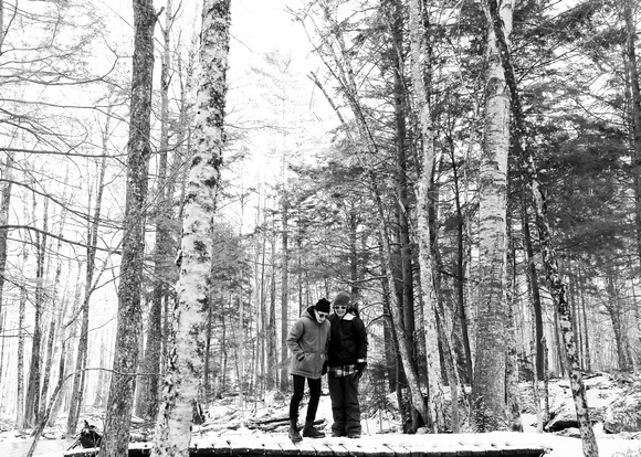 Winter wonderland forest engagement photos. LBGQT wedding.