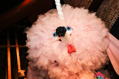 Wedding photography, a giant pink poodle made out of tulle.