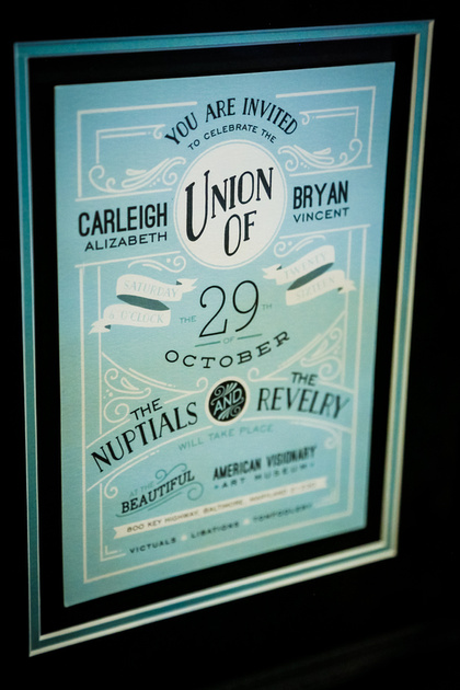 Wedding photography, a framed wedding invitation that is robin's egg blue and black.
