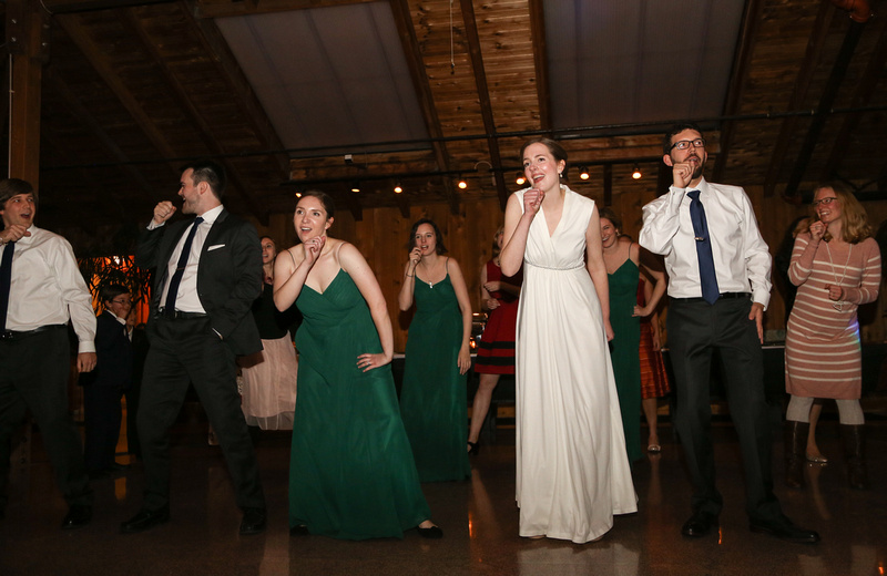Wedding photography, the wedding party does a choreographed dance.