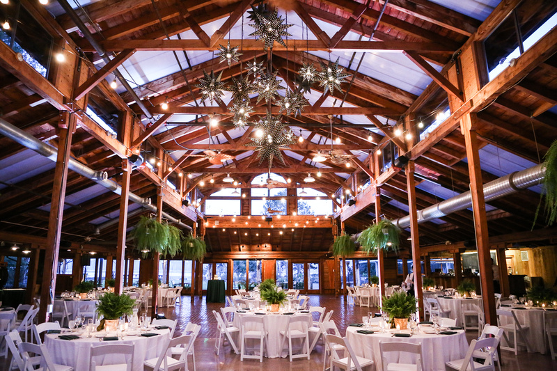 Wedding photography, an elegant log cabin lodge with green ferns and white tables for a party.