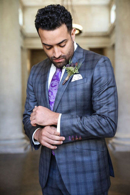 Groom buttons cufflink. Wearing silk suit from Christopher Shafer Clothier for the styled wedding shoot by photos by kintz