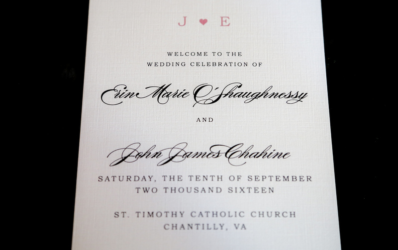 Wedding photography, a white and pink invitation for the wedding ceremony of Erin and John James.