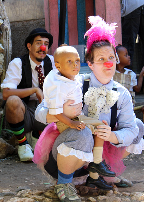 Bobby and Kolleen, both members of Clowns Without Borders USA, together on a project in Haiti.