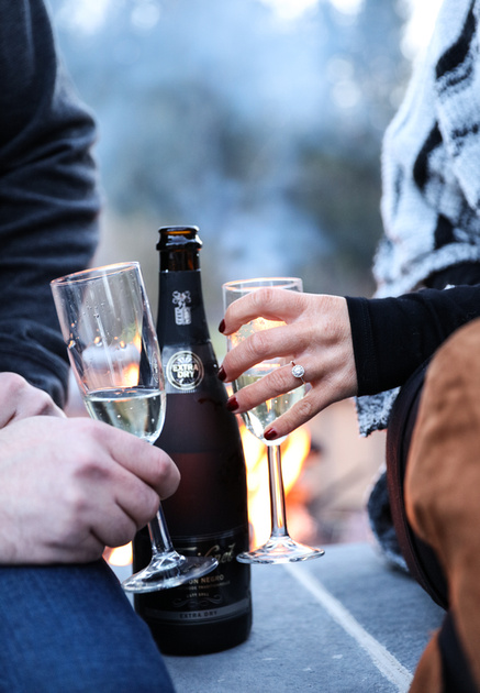 Engagement photography, a closeup shot of two hands holding champagne flutes. The woman wears a diamond ring.