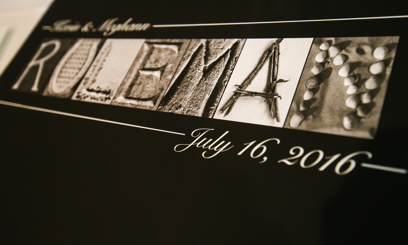 Wedding photography, a sign with the married name and wedding day date.