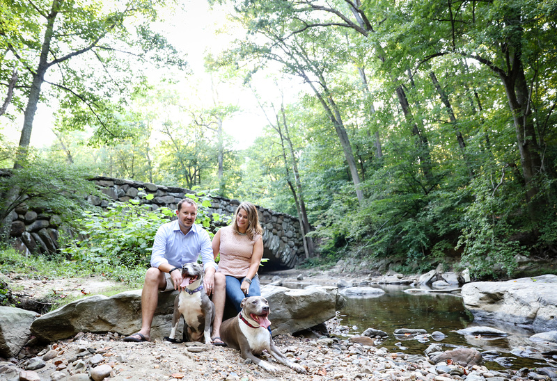 Family photography: a couple sits on a rock in the woods with their two pit bulls. They are surrounded by trees and stream.