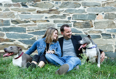 Family photography: a couple sits in front of a stone wall with their friendly pit bulls.